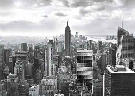New York wall mural black and white wallpaper